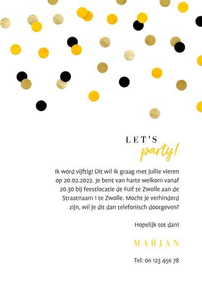 Uitnodiging verjaardag feestelijke confetti aanpasbaar 3