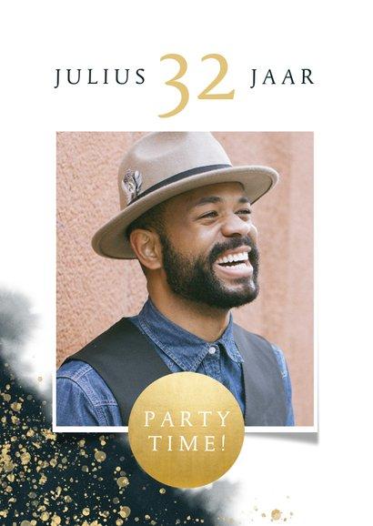 Uitnodiging verjaardag met waterverf, gouden spetters & foto 2