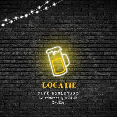 uitnodiging verjaardag neon bier party geel zwart 2