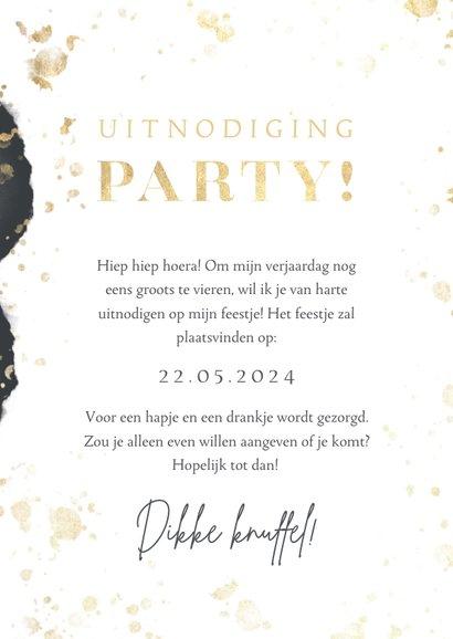 Uitnodiging verjaardag party goud spetters waterverf & foto 3