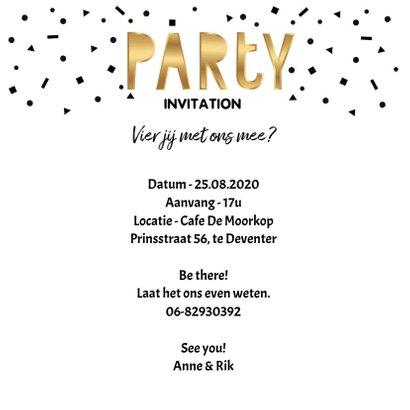 Uitnodiging verjaardag samen party goud 3