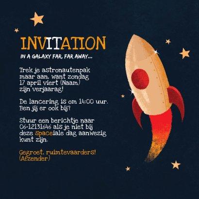Uitnodiging verjaardag spacecadet kinderfeestje 3