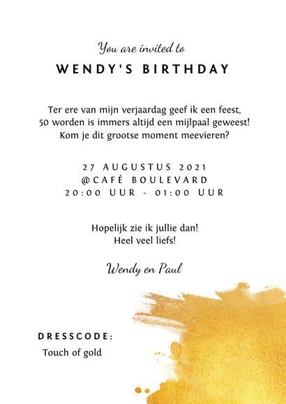 Uitnodiging verjaardag stijlvol met goud 3