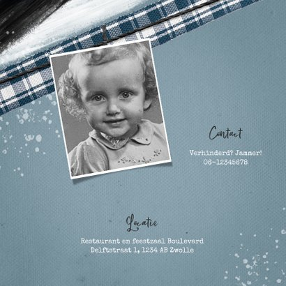 Uitnodiging verjaardag vintage spetters foto 60 2