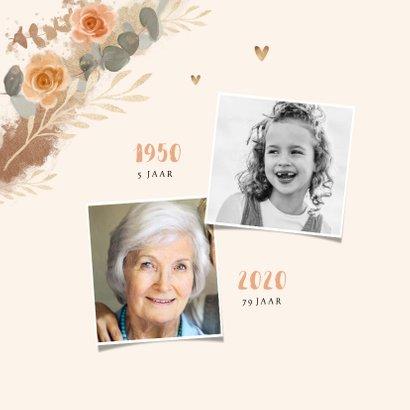 Uitnodiging verjaardag vrouw bloemen klassiek goud 2