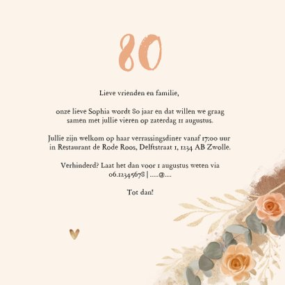 Uitnodiging verjaardag vrouw bloemen klassiek goud 3