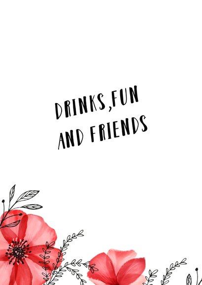 Uitnodiging verjaardag vrouw hip met rode bloemen en foto 2