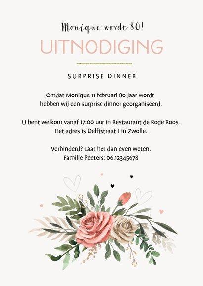 Uitnodiging verjaardag vrouw vintage bloemen jaartal 3