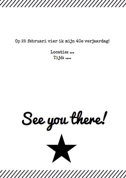 Uitnodiging verjaardagsfeest affiche zwartwit 3