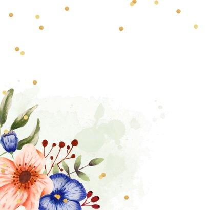 Uitnodiging verjaardagsfeest bloemen confetti foto 2