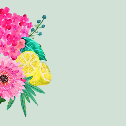Uitnodiging verjaardagsfeest Bloemen trendy 2