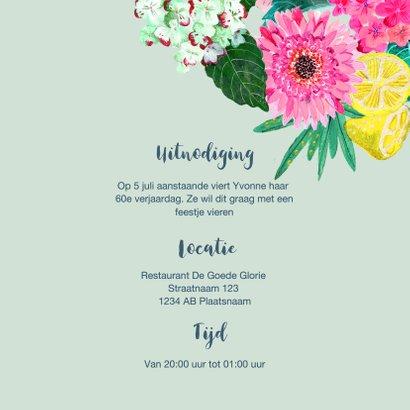 Uitnodiging verjaardagsfeest Bloemen trendy 3