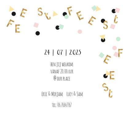 Uitnodiging verjaardagsfeest pastel confetti goud letters 3