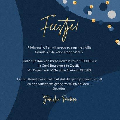 Uitnodiging verjaardagsfeest goud confetti stijlvol 3