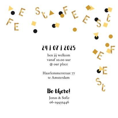 Uitnodiging verjaardagsfeest letter confetti goud 3
