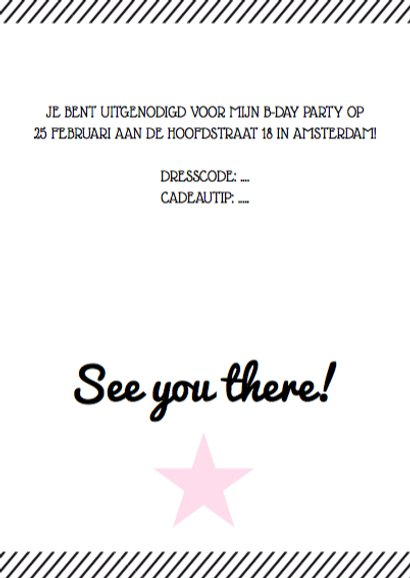 Uitnodiging verjaardagsfeest roze affiche 3