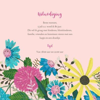 Uitnodiging verjaardagsfeestje botanisch bloemen en vogel 3