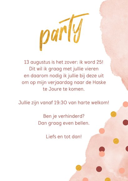 Uitnodiging verjaardagsfeestje confetti en waterverf roze 3