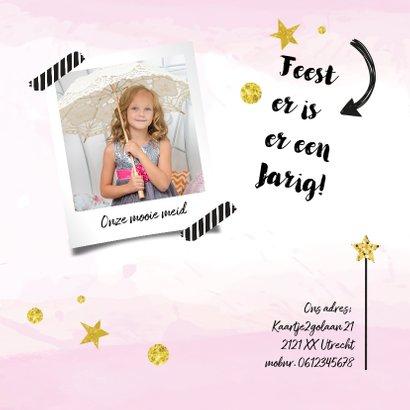 Uitnodiging verjaardagskaart Feestje roze 2