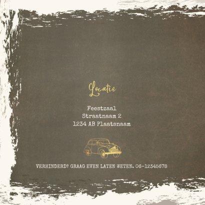 Uitnodiging vintage met goudkleurige oldtimer 2