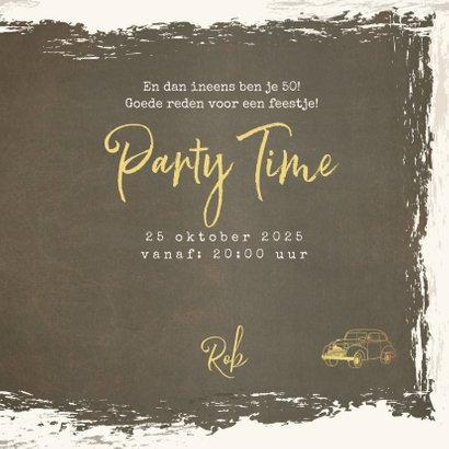 Uitnodiging vintage met goudkleurige oldtimer 3