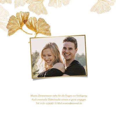 Uitnodiging voor bruiloft ginkgoblad stempel 2