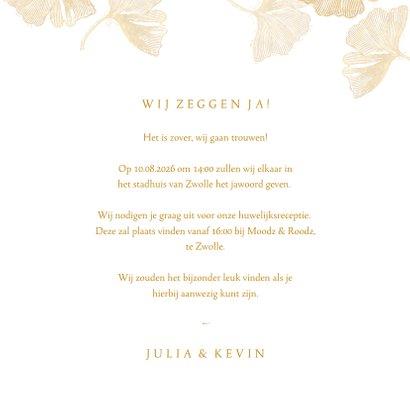 Uitnodiging voor bruiloft ginkgoblad stempel 3