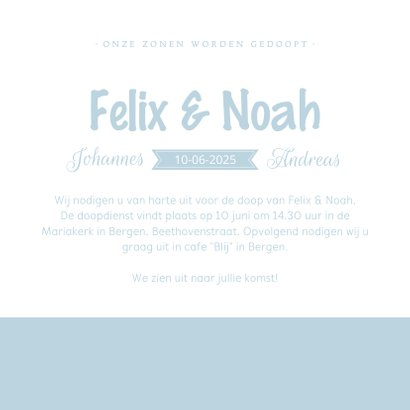 Uitnodiging voor de doop tweelingjongens silhouet 3