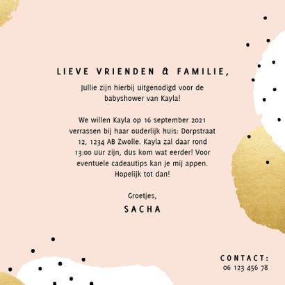 Uitnodiging voor een babyshower met gouden en witte stippen 3