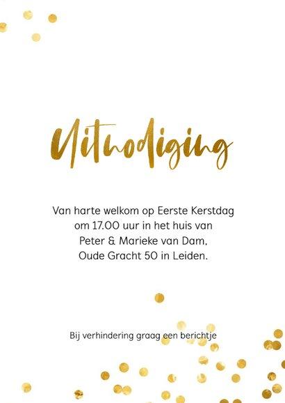 Uitnodiging voor een kerstdiner met gouden confetti 3