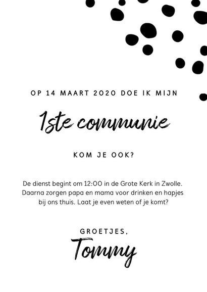 Uitnodiging voor eerste communie met luipaard en stipjes 3