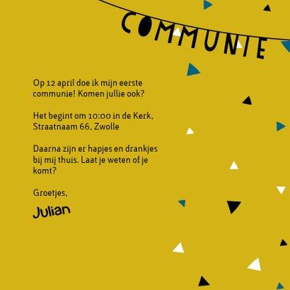 Uitnodiging voor eerste communie met slingers en confetti 3