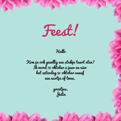 Uitnodiging voor kinderfeestje met eenhoorn en bloemen 3