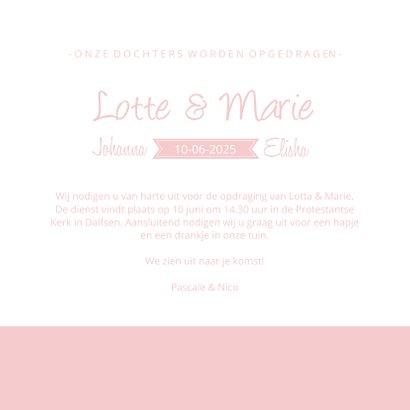 Uitnodiging voor opdraging van meisjes tweeling silhouet 3