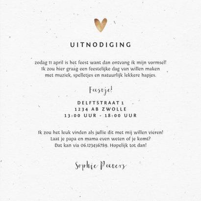 Uitnodiging vormsel meisje goud hartjes eucalyptus 3