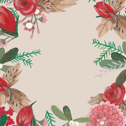 Uitnodiging winter bloemen en duiven Achterkant