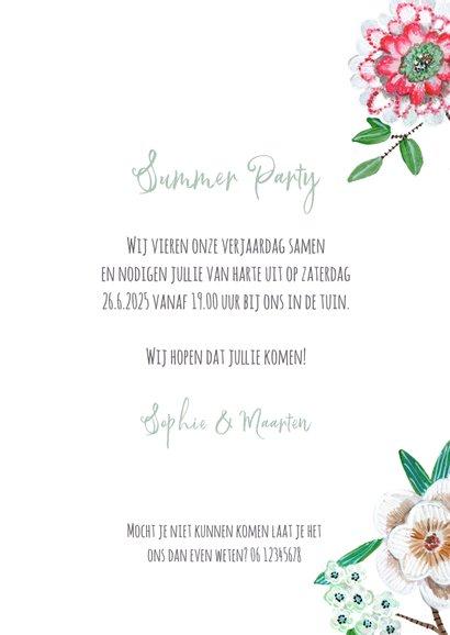 Uitnodiging zomerfeest botanisch bloemen grijs 3