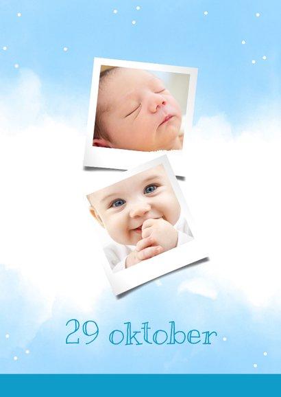 Uitnodigingskaart 1 jaar blauw met eigen foto's 2