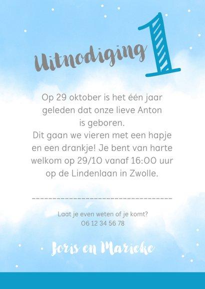 Uitnodigingskaart 1 jaar blauw met eigen foto's 3