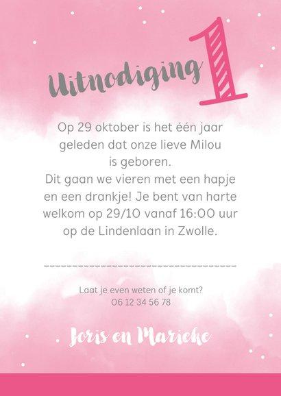 Uitnodigingskaart 1 jaar roze met eigen foto's 3