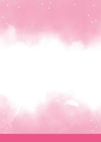 Uitnodigingskaart 1 jaar roze met eigen foto's Achterkant