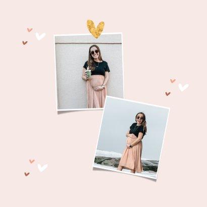 Uitnodigingskaart babyshower hartjes meisje roze goud foto 2