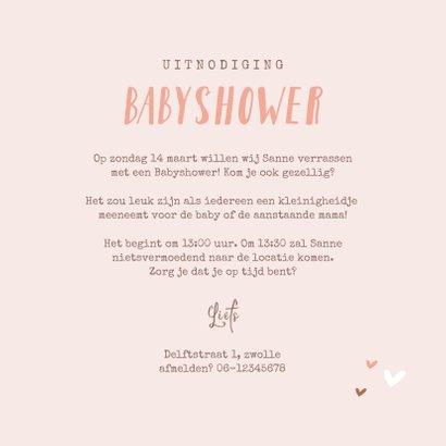 Uitnodigingskaart babyshower hartjes meisje roze goud foto 3