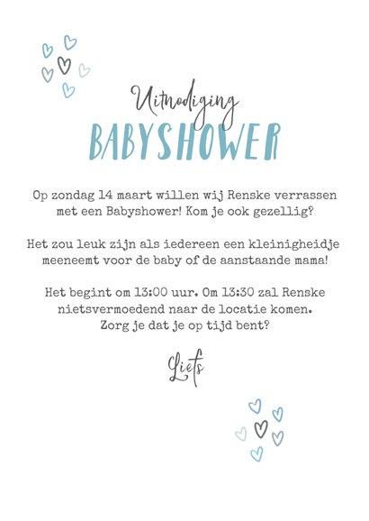 Uitnodigingskaart babyshower jongen regenboog hartjes foto 3