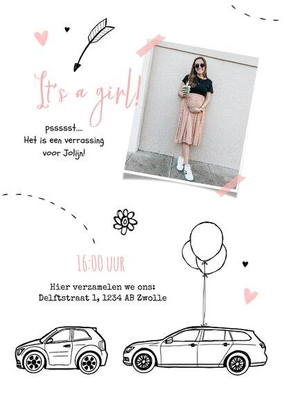 Uitnodigingskaart babyshower meisje auto drive in feestje 2