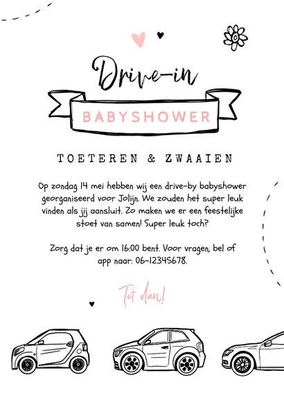 Uitnodigingskaart babyshower meisje auto drive in feestje 3