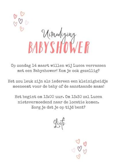 Uitnodigingskaart babyshower meisje regenboog hartjes foto 3