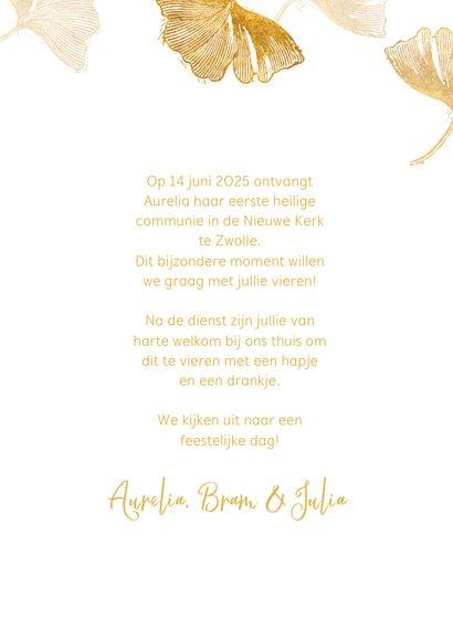 Uitnodigingskaart communie ginkgo wit 3