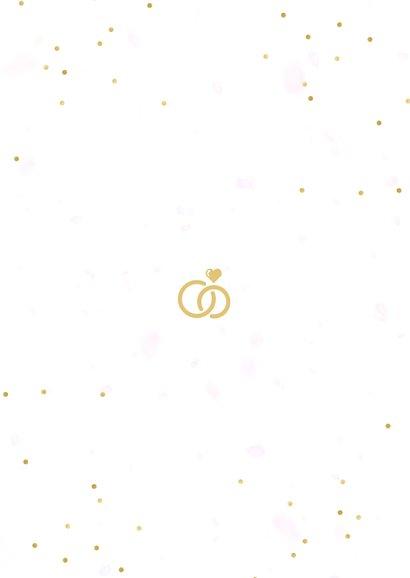 Uitnodigingskaart huwelijk fotocollage 3 foto's en confetti Achterkant