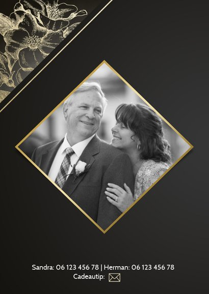Uitnodigingskaart jubileum 50 jaar gouden bloemen en foto 2